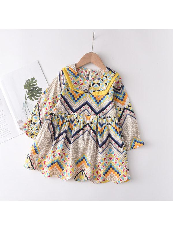 【2Y-9Y】Girls Yellow Geometric Print Lapel Long Sleeve Dress
