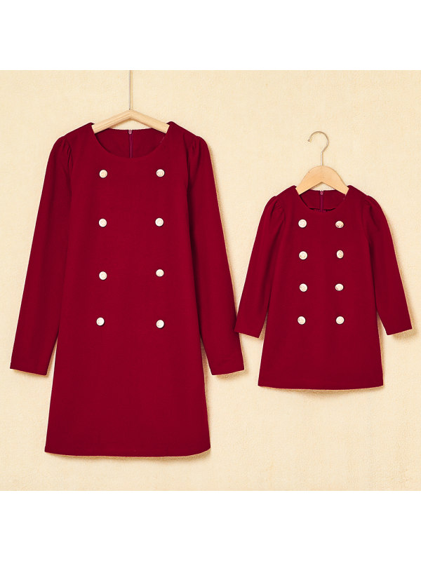 Red Woolen Cloth Breasted Round Neck Long Sleeves Mom Girl Matching Dress