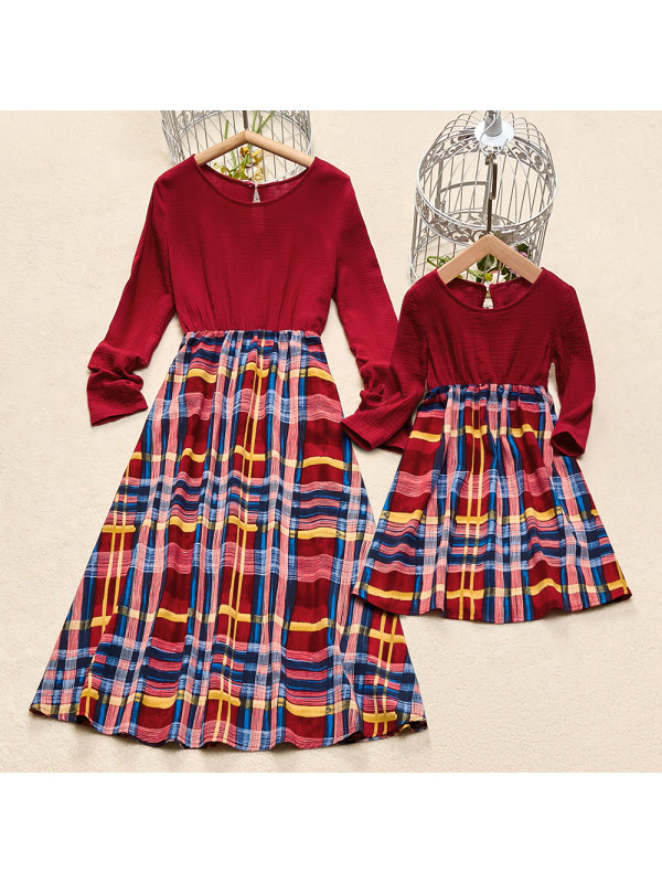 Classic Plaid Round Neck Long Sleeves Cotton Blends Mom Girl Matching Dress