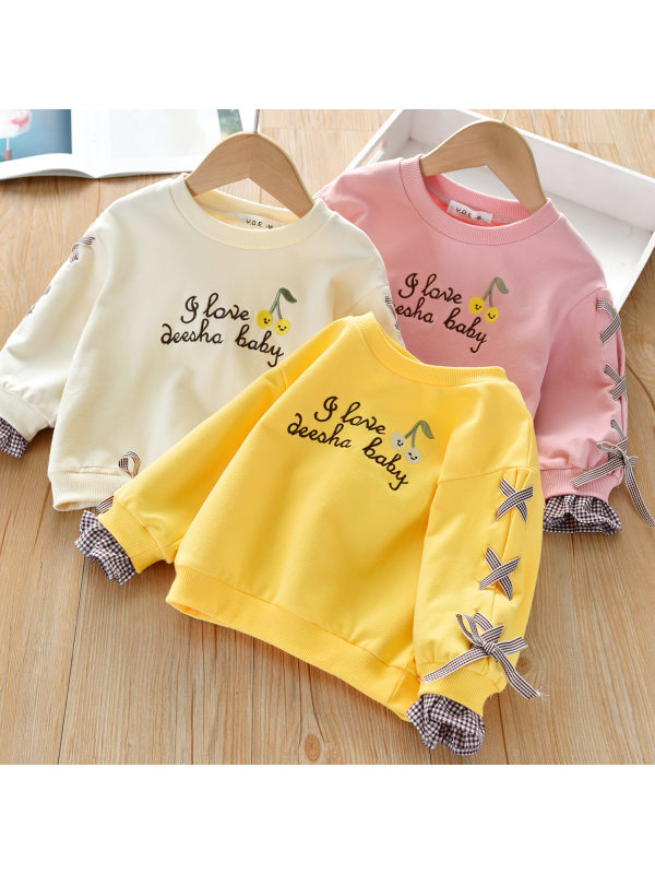 【18M-7Y】Girls Sweet Letters Embroidery Bow Round Neck Long Sleeve Pullover
