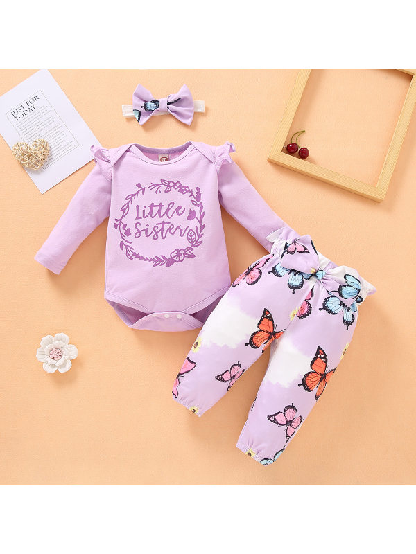 【6M-3Y】Cute Round Neck Long Sleeved Purple T-shirt and Butterfly Print Pants Set with Headband