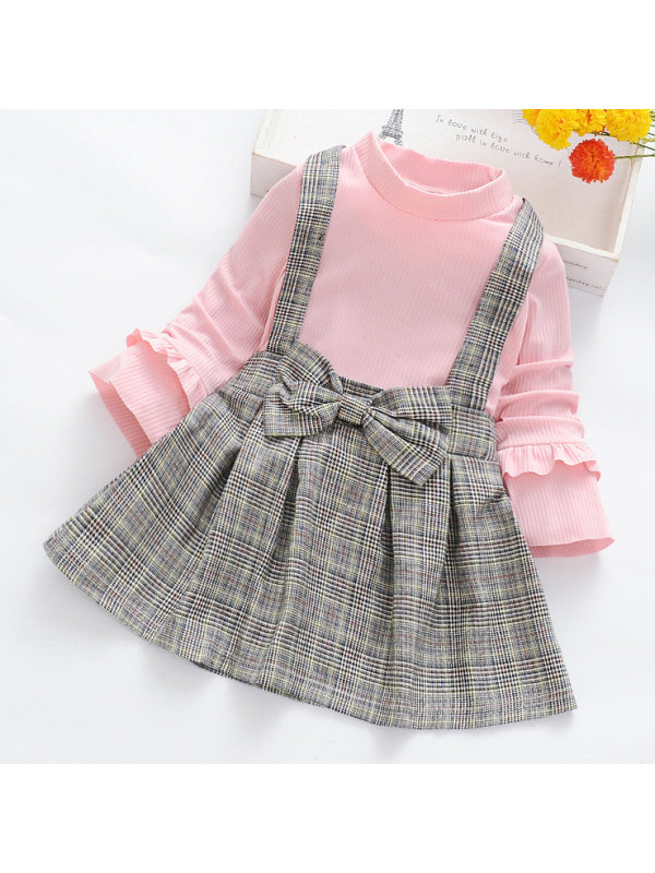 【18M-7Y】Girls Band Collar Long Sleeved Knitted T-shirt and Plaid Suspender Skirt Set