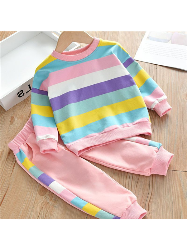 【18M-7Y】Rainbow Stripes Round Neck Pullover Casual Set