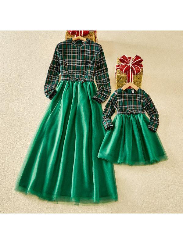 Christmas Round Neck Long Sleeve Tartan Mesh Stitching Mom Girl Matching Dress