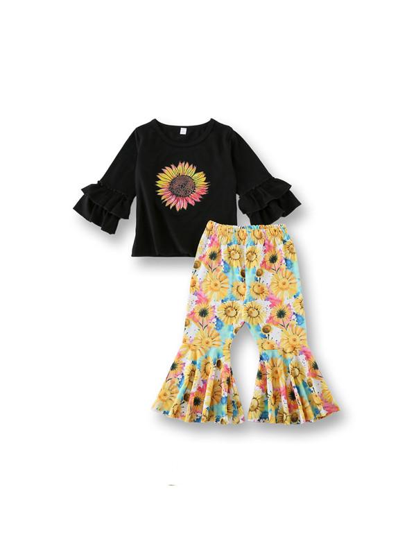 【18M-7Y】Sunflower Flared Pants Suit