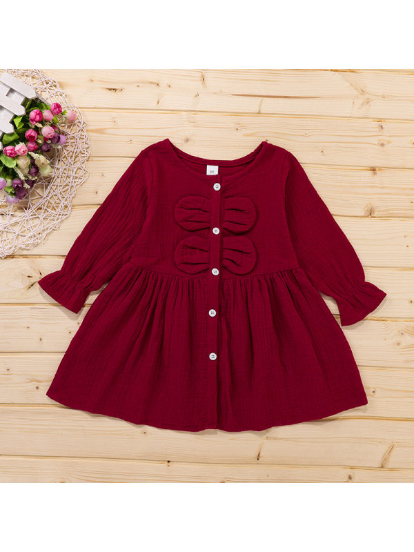【18M-7Y】Cute Round Neck Long Sleeve Bow Cotton Dress