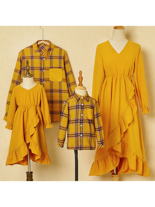 Fashion Long Sleeved Plaid Shirt and Yellow Ruffled High-low Dress Family Matching Outfits