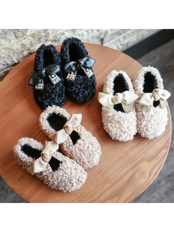 Girls Rhinestone Bow Lamb Velvet Shoes