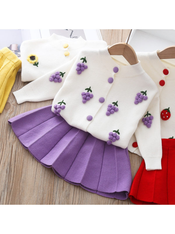【12M-7Y】Cute Fruit Jacquard Lapel Sweater And Skirt Set - 3403