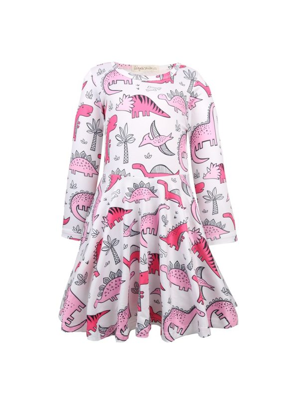 【3Y-11Y】Girls Dinosaur Print Long Sleeve Dress