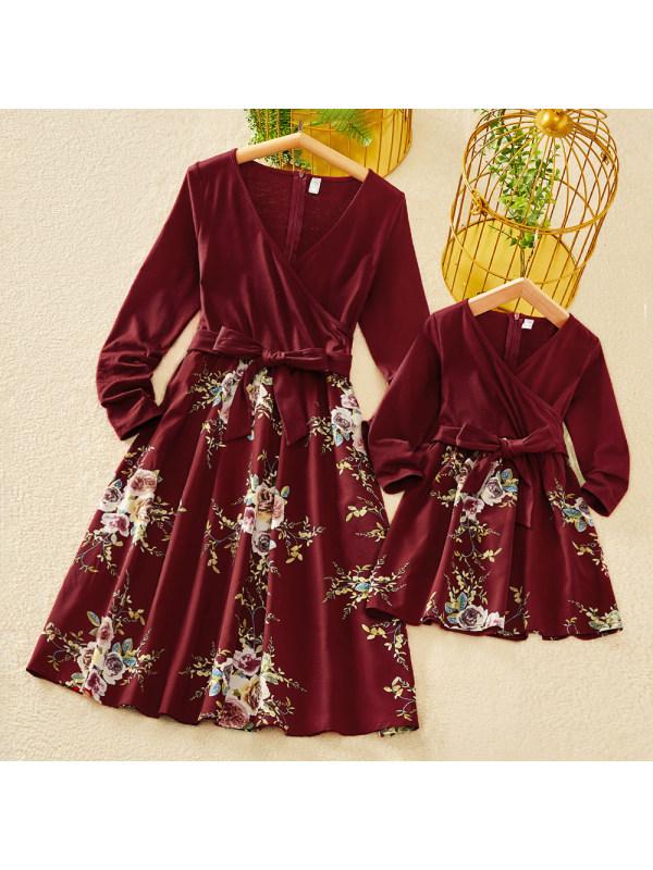 Elegant V-neck Long Sleeved Flower Print Red Mom Girl Matching Dress