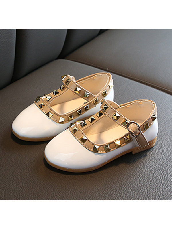 Girls Classic Patent Leather Studded Flats