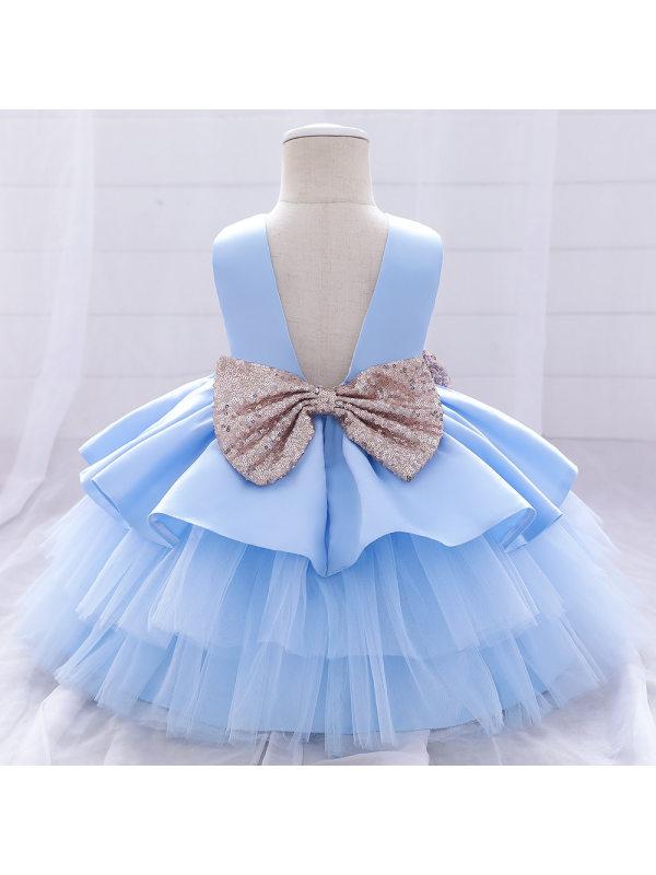 【6M-5Y】Cute Round Neck Sleeveless Back Gold Short Princess Dress