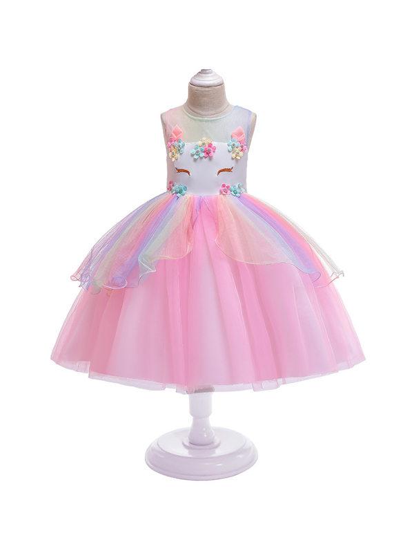 【3Y-11Y】Unicorn Round Neck Sleeveless Cute Mesh Princess Dress