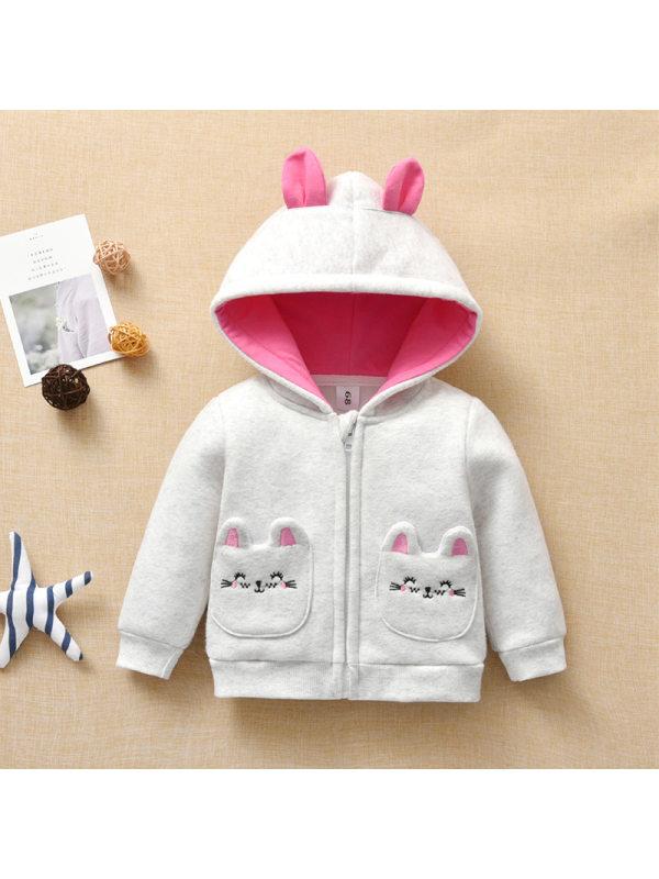 【6M-3Y】Cute Cartoon Embroidery Pocket Gray Long Sleeve Hooded Jacket