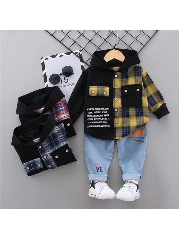 【12M-5Y】Boys Check Letter Print Top and Jeans Suit