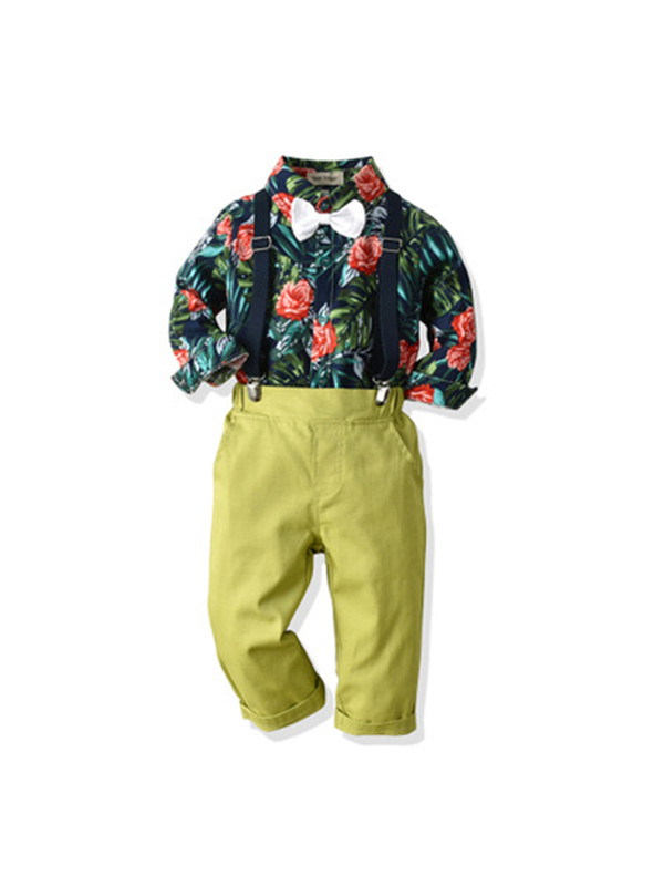 【6M-5Y】Boys Long Sleeves Bow Tie Floral Shirt Set