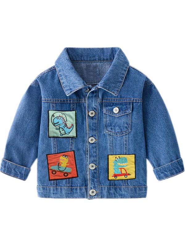 【18M-7Y】Boys Cartoon Dinosaur Patch Denim Jacket