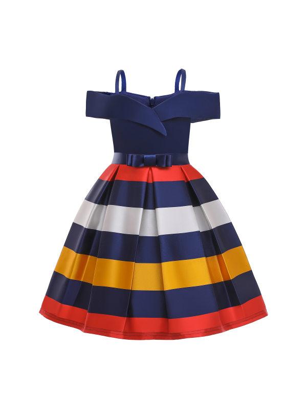 【2Y-11Y】Girls Strapless Striped Dress - 3361