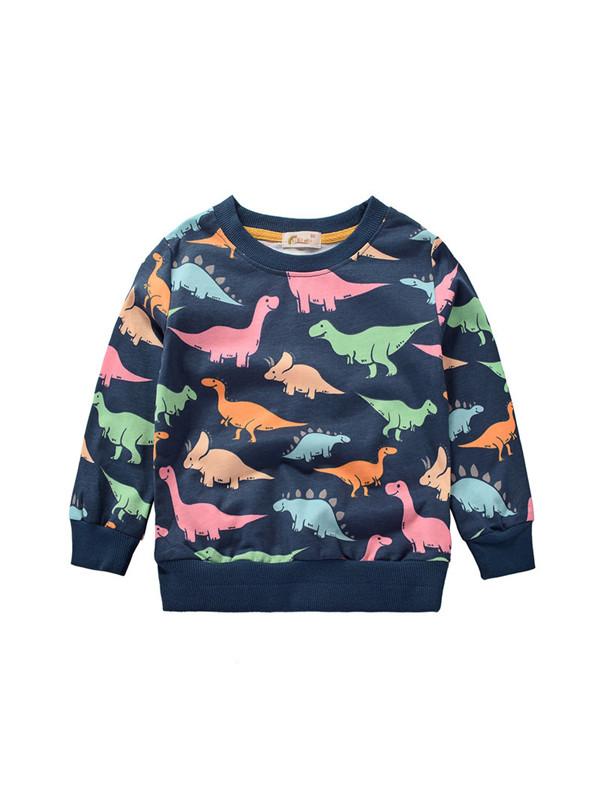 【18M-7Y】Boys Cartoon Full Of Dinosaur Print Sweater