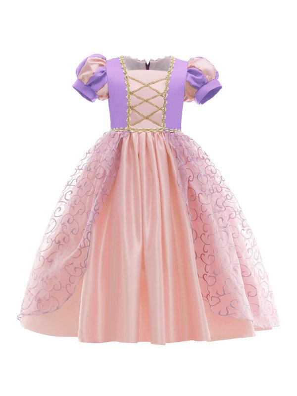 【2Y-11Y】Cute Square Neck Puff Sleeve Purple Long Princess Dress