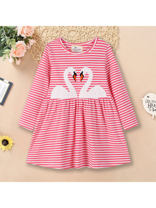 【12M-7Y】Cute Swan Embroidered Round Neck Long Sleeve Pink Knit Dress