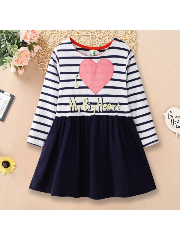 【18M-9Y】Letter and Heart Embroidery Round Neck Long Sleeve Dress