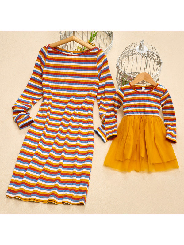 Elegant Round Neck Long Sleeve Yellow Striped Knitted Mom Girl Matching Dress