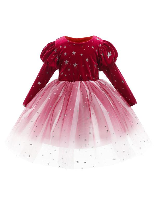 【2Y-11Y】Cute Round Neck Long Sleeve Velvet Stitching Mesh Princess Dress