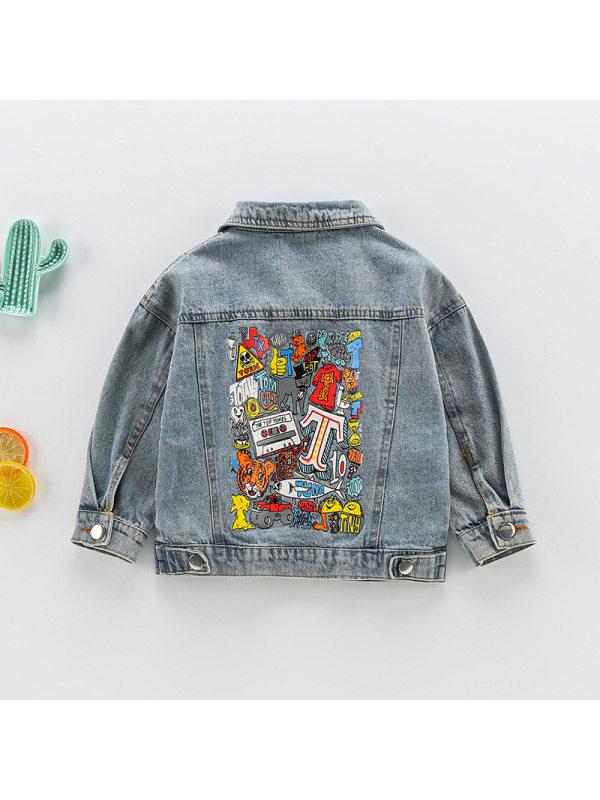 【12M-7Y】Boys Cartoon Print Denim Jacket