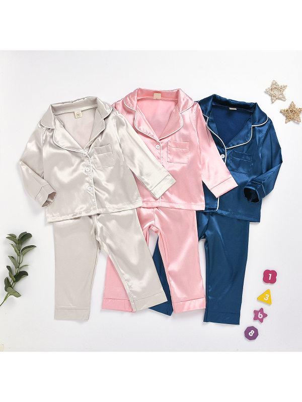 【12M-7Y】Kids Pure Cotton Silk Pajamas Set