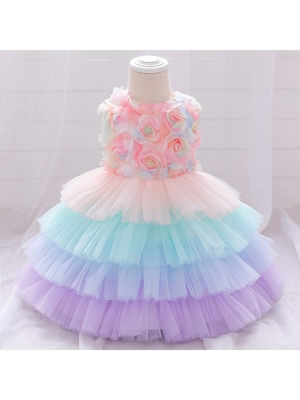 【6M-7Y】Cute Round Neck Sleeveless Colorful Multi-layer Mesh Princess Dress