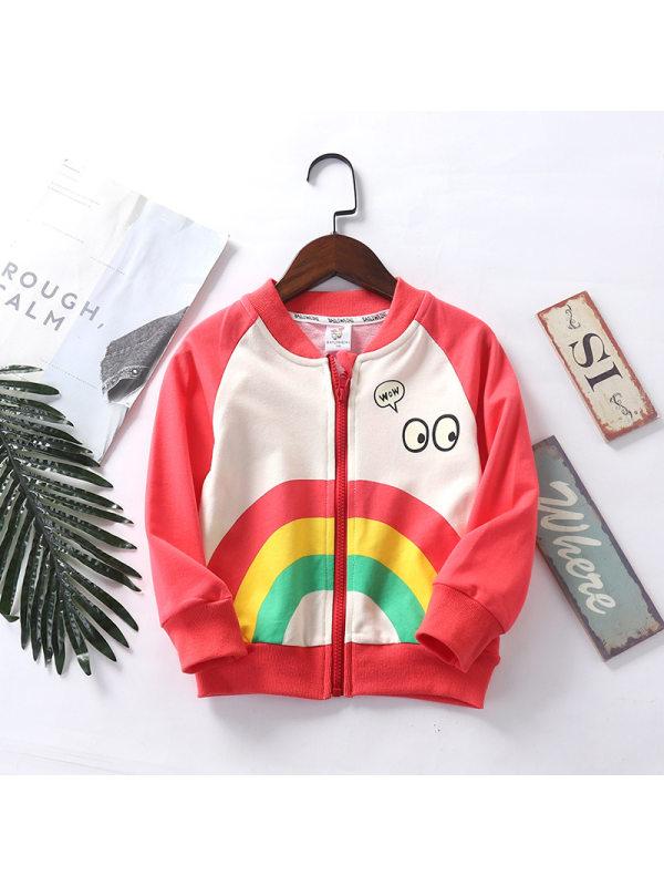 【2Y-9Y】Kids Cartoon Rainbow Print Contrast Zipper Outerwear
