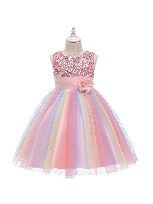 【2Y-11Y】Girls Sequined Mesh Puffy Princess Dress