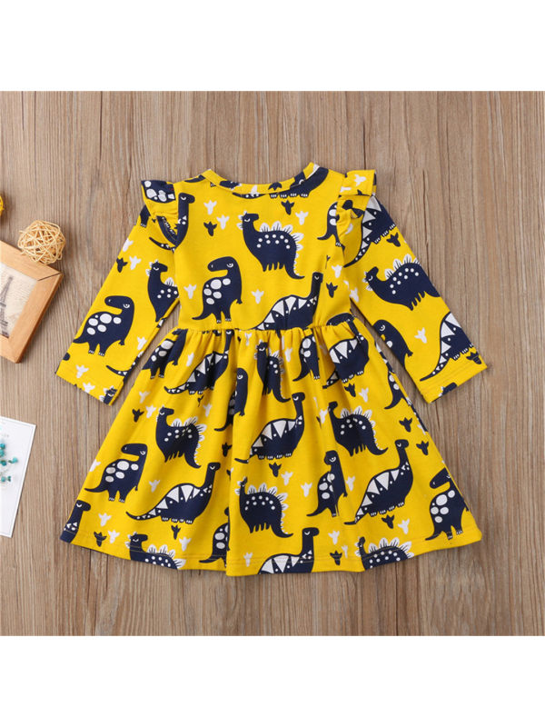 【12M-5Y】Girls Long Sleeve Cartoon Dinosaur Print Dress