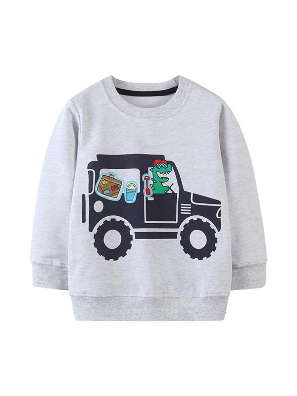 【18M-9Y】Boys Dinosaur Car Print Sweatshirt