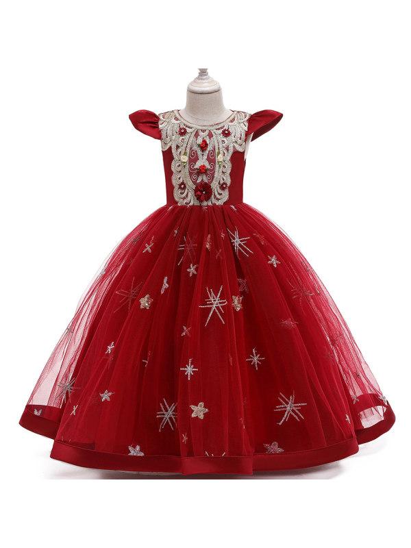 【2Y-13Y】Vintage Golden Lace Embroidery Mesh Long Princess Dress