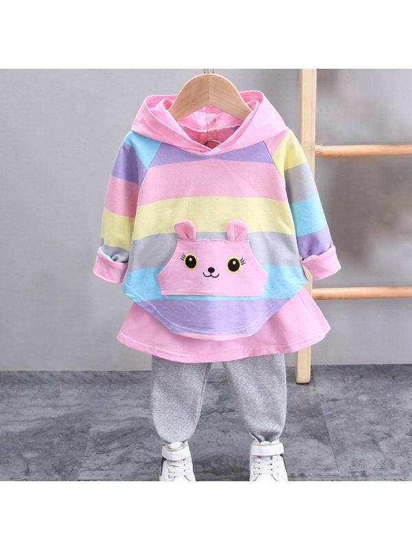 【12M-4Y】Girl Color Striped 3D Ear Hoodie Pants Set