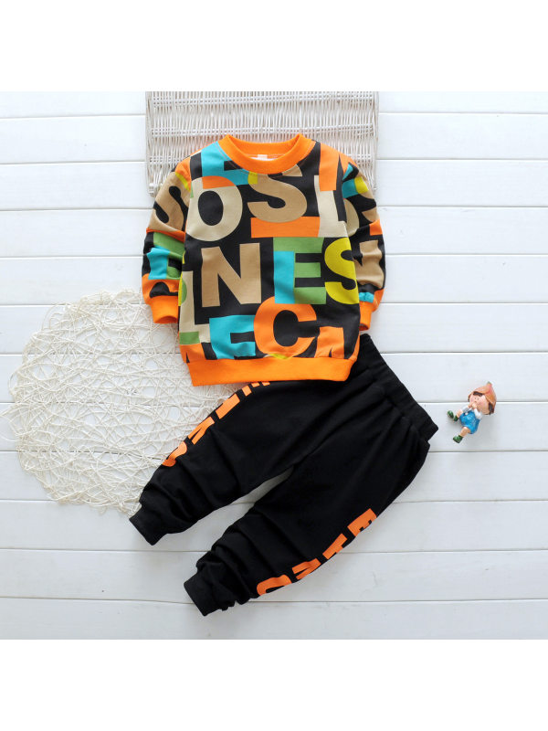 【18M-7Y】Boys Letter Print Round Neck Sweatshirt Pants Set