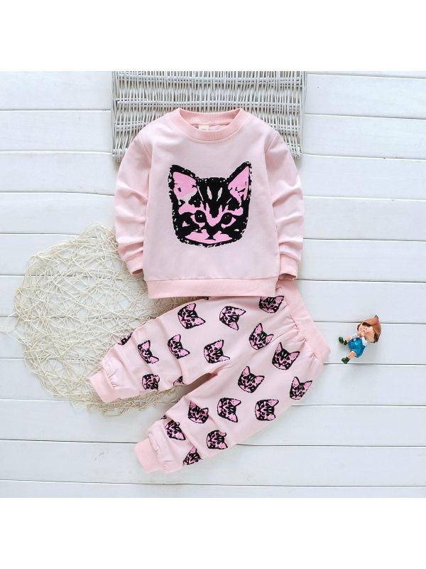 【18M-7Y】Girls Sweet Pink Cat Pattern Round Neck Long Sleeve Sweatershirt Pants Set