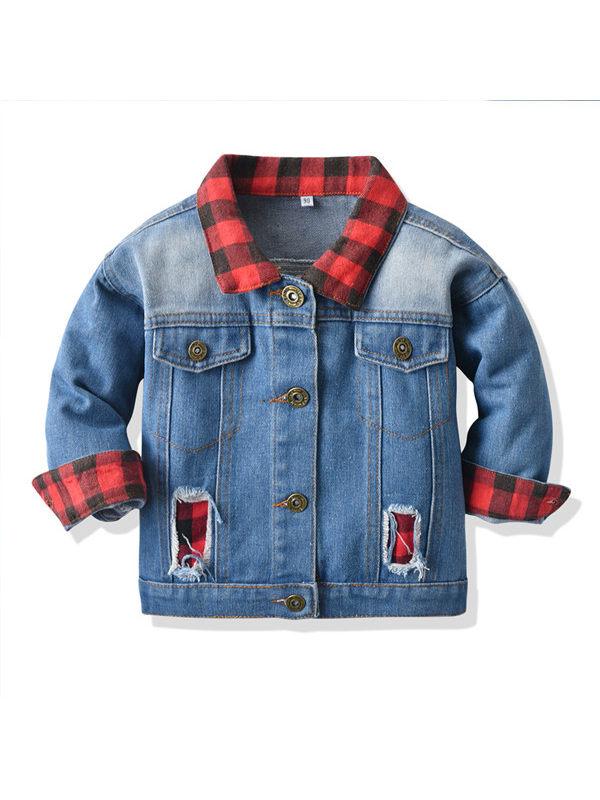【6M-9Y】Boys Denim Red And Black Plaid Patchwork Jacket