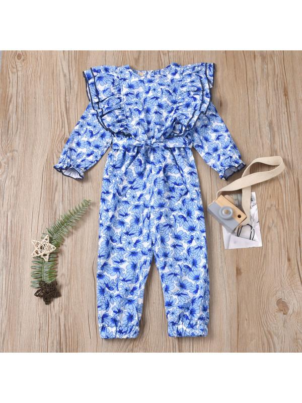 【18M-7Y】Girl Sweet Blue Flower Ruffled Round Neck Long Sleeve Jumpsuit