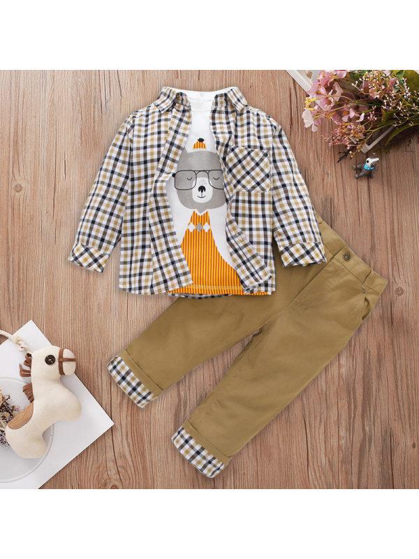 【12M-5Y】Three-Piece Boy Plaid Long-Sleeved Shirt Sets