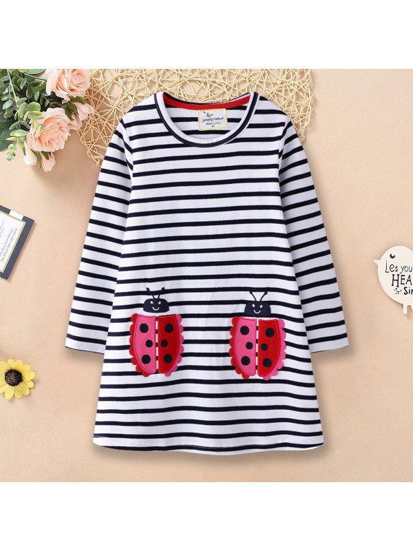 【18M-9Y】Sweet Embroidery Black And White Striped Long Sleeve Knitted Dress