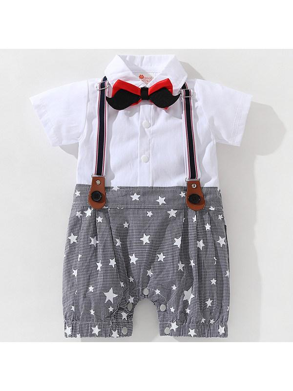 【3M-2.5Y】Summer Short-sleeved Gentleman's Baby Jumpsuit