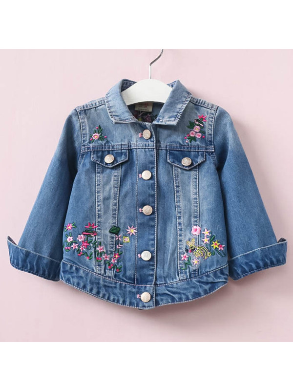 【2Y-9Y】Girls Casual Blue Denim Embroidered Jacket
