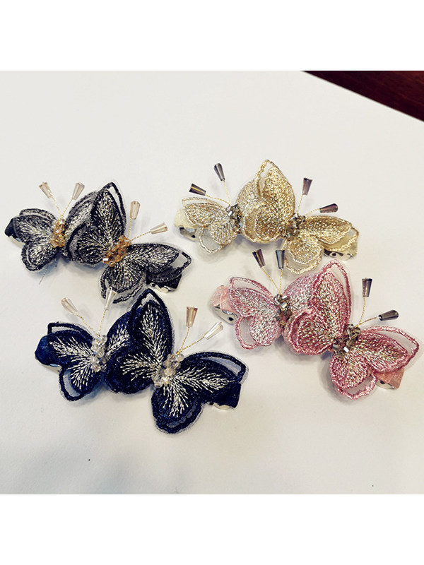 Embroidered Butterfly Crystal High-End Side Clip