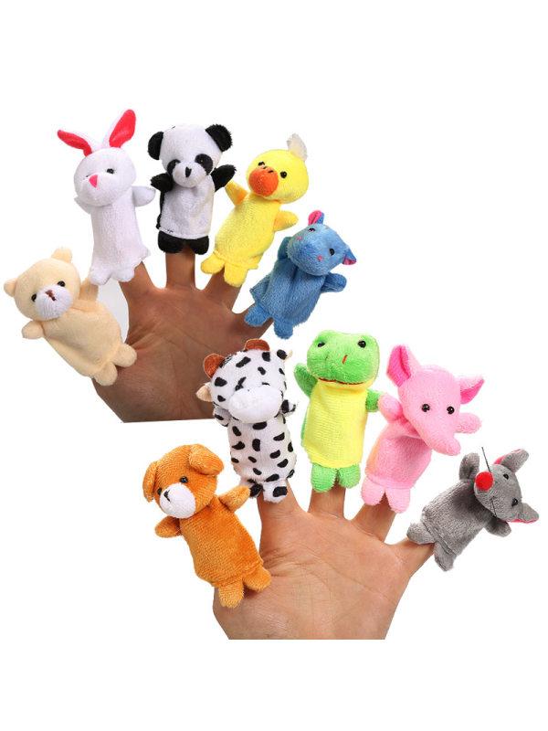 Ten-pcs  Baby Animal Finger Puppet Plush Toys