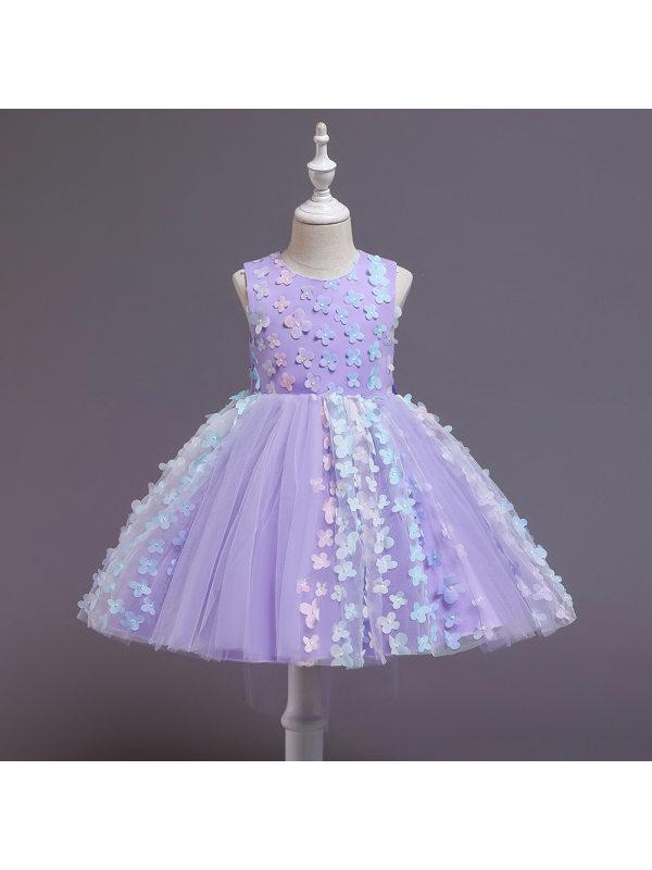 【12M-5Y】Girls Elegant Sleeveless Mesh Princess Dress