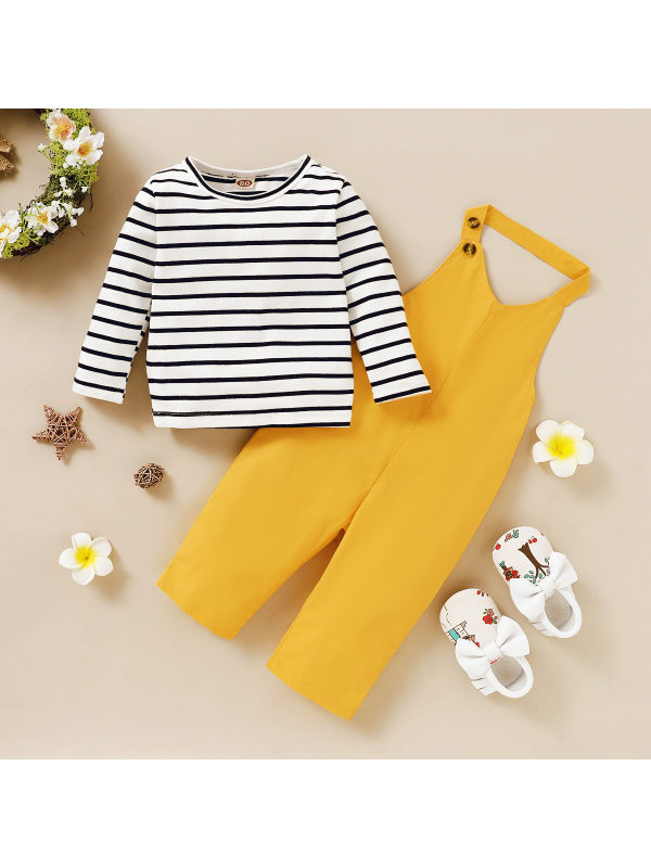 【12M-5Y】Casual Round Neck Long Sleeve Striped T-Shirt And Yellow Overalls Set